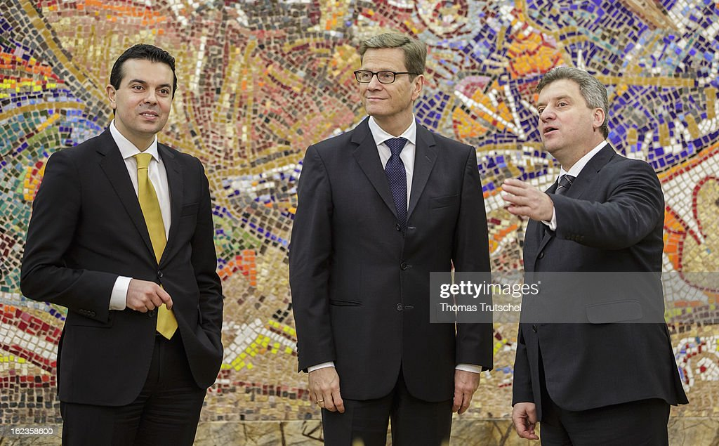 German Foreign Minister <a gi-track='captionPersonalityLinkClicked' href=/galleries/search?phrase=Guido+Westerwelle&family=editorial&specificpeople=208748 ng-click='$event.stopPropagation()'>Guido Westerwelle</a> (Center) is pictured during a meeting with Macedonia's Foreign Minister Nikola Poposki (L) and Macedonia's President <a gi-track='captionPersonalityLinkClicked' href=/galleries/search?phrase=Gjorge+Ivanov+-+Politician&family=editorial&specificpeople=12777955 ng-click='$event.stopPropagation()'>Gjorge Ivanov</a> on February 22, 2013 in Skopje, Macedonia. Westerwelle visits Macedonia to hold political talks with members of government and opposition.