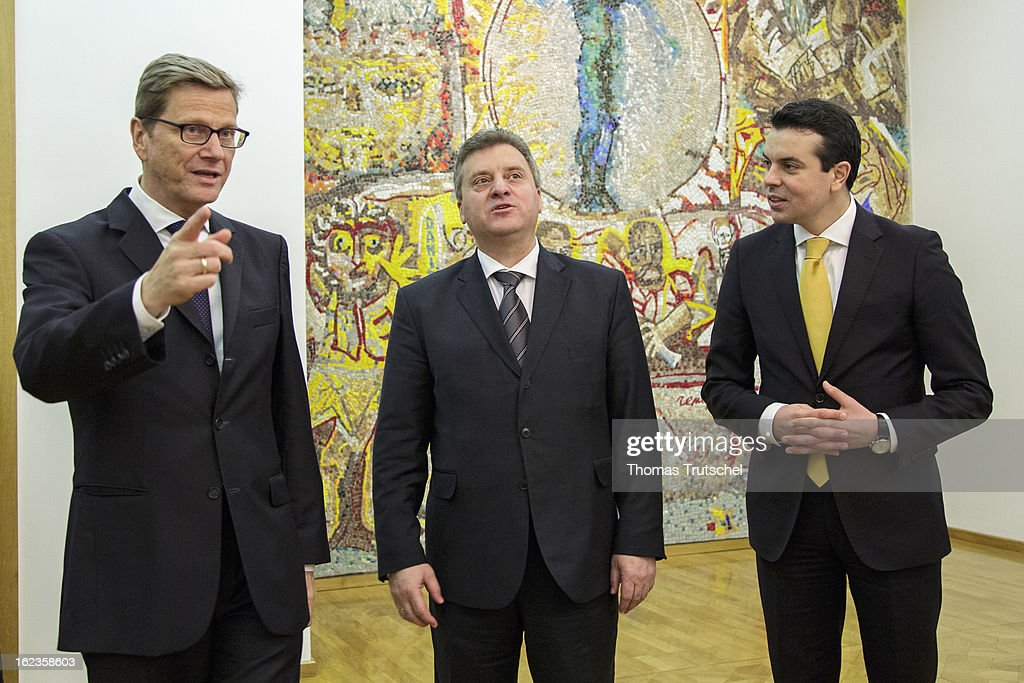 German Foreign Minister <a gi-track='captionPersonalityLinkClicked' href=/galleries/search?phrase=Guido+Westerwelle&family=editorial&specificpeople=208748 ng-click='$event.stopPropagation()'>Guido Westerwelle</a> (L) is pictured during a meeting with Macedonia's Foreign Minister Nikola Poposki (R) and Macedonia's President <a gi-track='captionPersonalityLinkClicked' href=/galleries/search?phrase=Gjorge+Ivanov+-+Politician&family=editorial&specificpeople=12777955 ng-click='$event.stopPropagation()'>Gjorge Ivanov</a> (Center) on February 22, 2013 in Skopje, Macedonia. Westerwelle visits Macedonia to hold political talks with members of government and opposition.