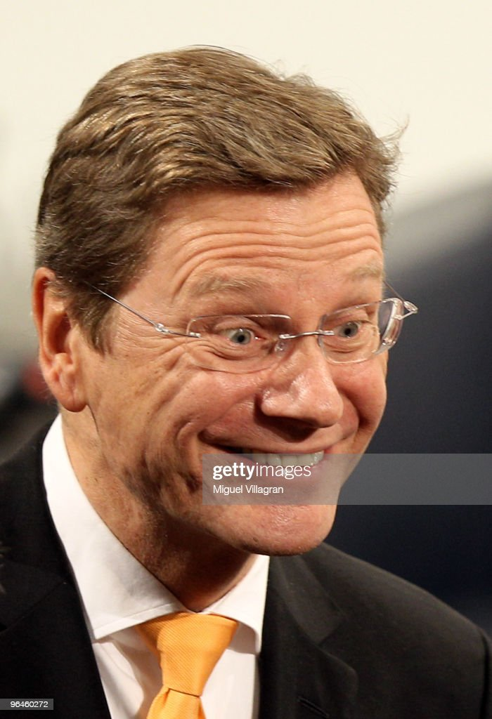 German Foreign Minister <a gi-track='captionPersonalityLinkClicked' href=/galleries/search?phrase=Guido+Westerwelle&family=editorial&specificpeople=208748 ng-click='$event.stopPropagation()'>Guido Westerwelle</a> laughs during the second day of the 46th Munich Security Conference at the hotel Bayerischer Hof on February 6, 2010 in Munich, Germany. The 46th Munich conference on security policy is running till February 7, 2010.