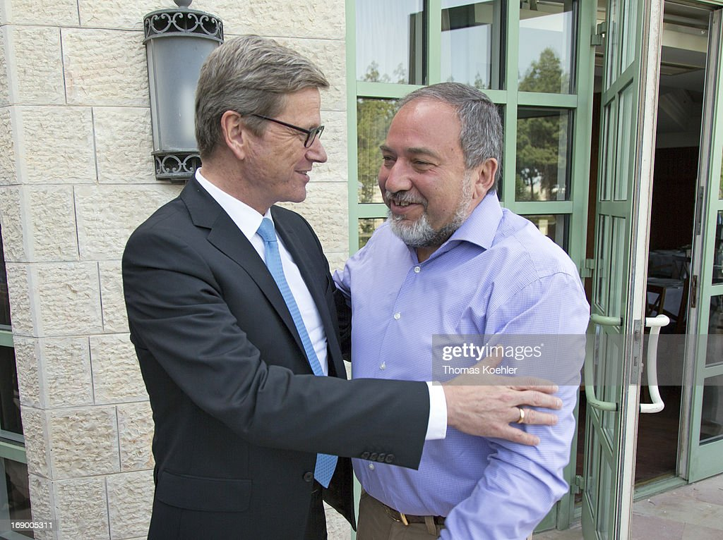 German Foreign Minister <a gi-track='captionPersonalityLinkClicked' href=/galleries/search?phrase=Guido+Westerwelle&family=editorial&specificpeople=208748 ng-click='$event.stopPropagation()'>Guido Westerwelle</a> (L) meets <a gi-track='captionPersonalityLinkClicked' href=/galleries/search?phrase=Avigdor+Lieberman&family=editorial&specificpeople=652650 ng-click='$event.stopPropagation()'>Avigdor Lieberman</a>, former Foreign Minister of Israel, on May 17, 2013 in Jerusalem, Israel. The issues topping the agenda are renewed efforts for the Middle East peace process, the crisis in Syria and the Iranian nuclear programme.