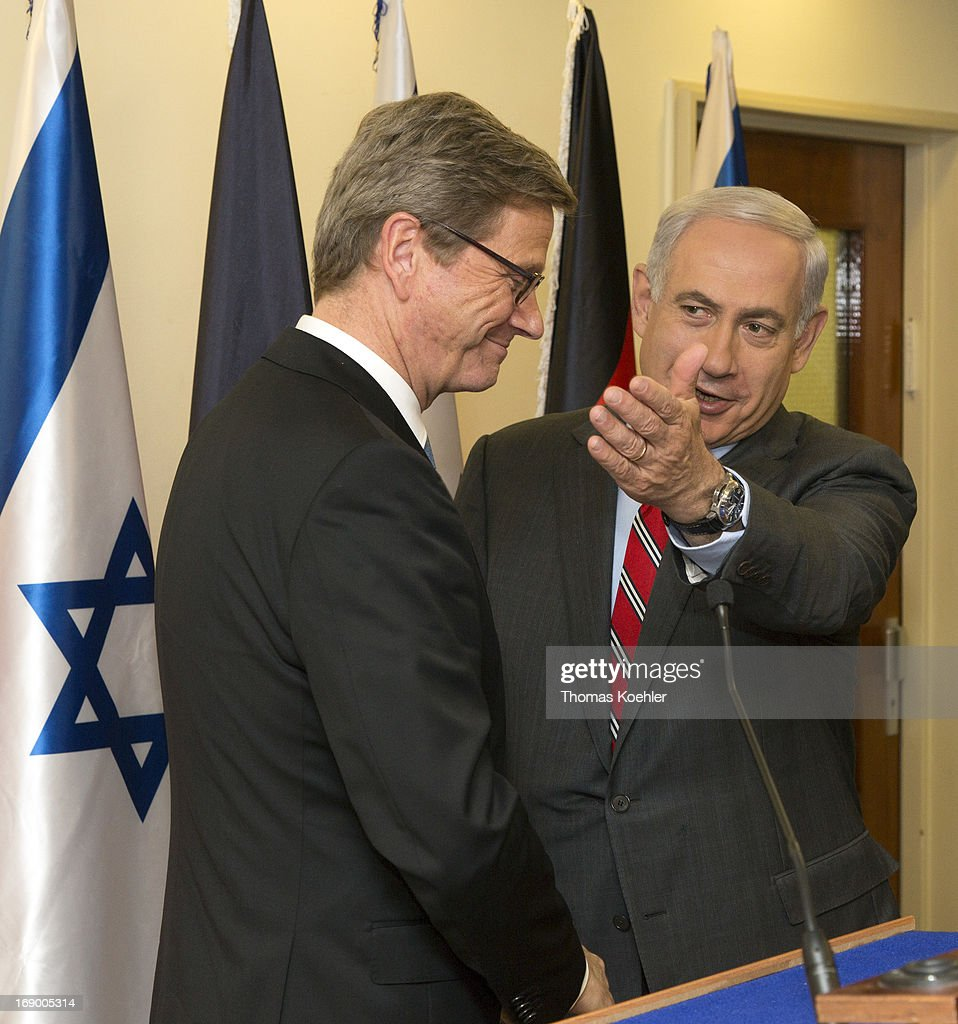 German Foreign Minister <a gi-track='captionPersonalityLinkClicked' href=/galleries/search?phrase=Guido+Westerwelle&family=editorial&specificpeople=208748 ng-click='$event.stopPropagation()'>Guido Westerwelle</a> (L) meets <a gi-track='captionPersonalityLinkClicked' href=/galleries/search?phrase=Benjamin+Netanyahu&family=editorial&specificpeople=118594 ng-click='$event.stopPropagation()'>Benjamin Netanyahu</a>, Prime Minister of Israel, on May 17, 2013 in Jerusalem, Israel. The issues topping the agenda are renewed efforts for the Middle East peace process, the crisis in Syria and the Iranian nuclear programme.