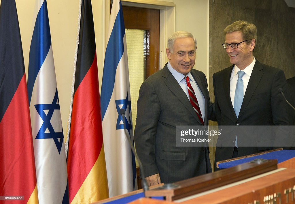 German Foreign Minister <a gi-track='captionPersonalityLinkClicked' href=/galleries/search?phrase=Guido+Westerwelle&family=editorial&specificpeople=208748 ng-click='$event.stopPropagation()'>Guido Westerwelle</a> (R) meets <a gi-track='captionPersonalityLinkClicked' href=/galleries/search?phrase=Benjamin+Netanyahu&family=editorial&specificpeople=118594 ng-click='$event.stopPropagation()'>Benjamin Netanyahu</a>, Prime Minister of Israel, on May 17, 2013 in Jerusalem, Israel. The issues topping the agenda are renewed efforts for the Middle East peace process, the crisis in Syria and the Iranian nuclear programme.