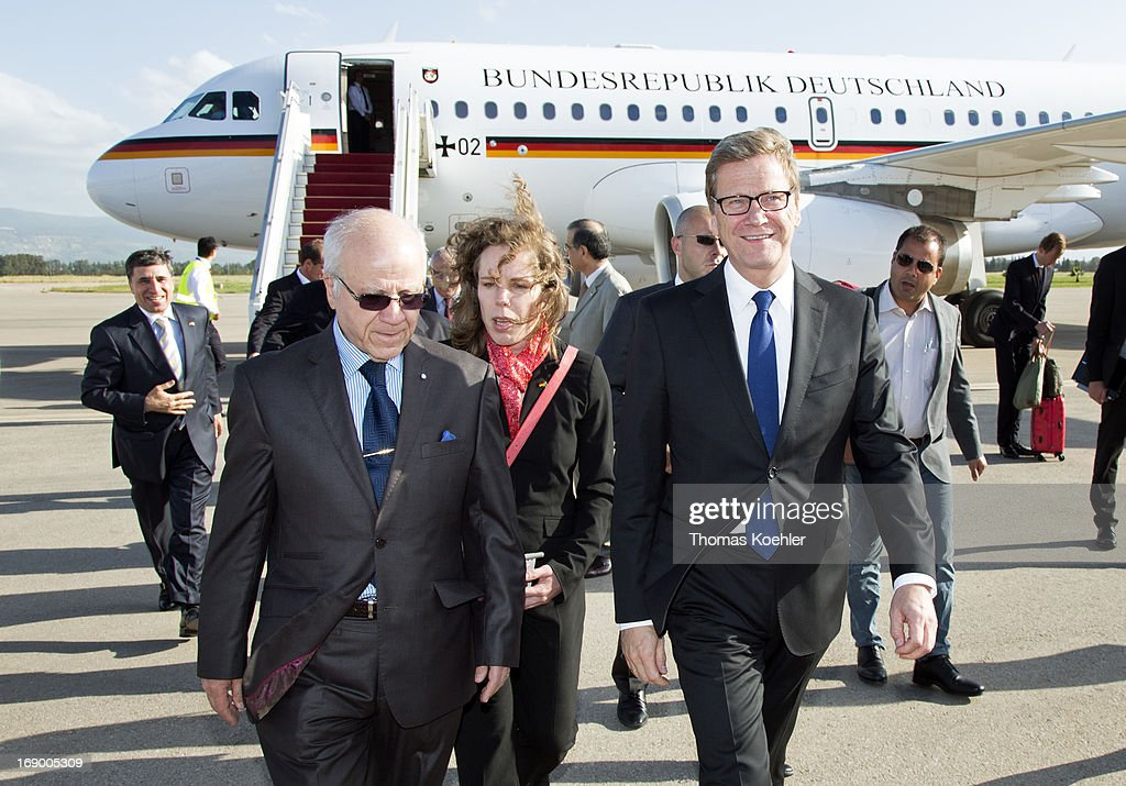 German Foreign Minister <a gi-track='captionPersonalityLinkClicked' href=/galleries/search?phrase=Guido+Westerwelle&family=editorial&specificpeople=208748 ng-click='$event.stopPropagation()'>Guido Westerwelle</a> (R) meets the Foreign Minister of Algeria, Mourad Medelci, on May 18, 2013 in Algiers, Algeria. The issues topping the agenda are renewed efforts for the Middle East peace process, the crisis in Syria and the Iranian nuclear program.