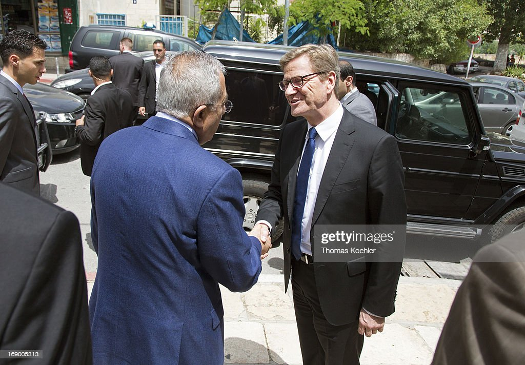 German Foreign Minister Guido Westerwelle (R) meets the Prime Minister of the Palestinian National Authority, Salam Fayyad, on May 18, 2013 in Ramallah, Palestine. The issues topping the agenda are renewed efforts for the Middle East peace process, the crisis in Syria and the Iranian nuclear program.