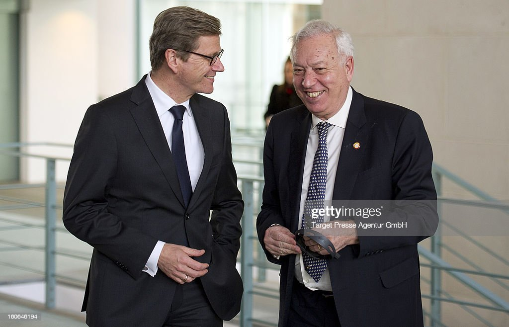 German Foreign Minister <a gi-track='captionPersonalityLinkClicked' href=/galleries/search?phrase=Guido+Westerwelle&family=editorial&specificpeople=208748 ng-click='$event.stopPropagation()'>Guido Westerwelle</a> meets the Spanish Foreign Minister Jose Manuel Garcia-Margallo at the Chancellery on February 4, 2013 in Berlin, Germany. The German and Spanish government are meeting for consultations, and the ongoing spanish economic downturn is likely to be high on the agenda.