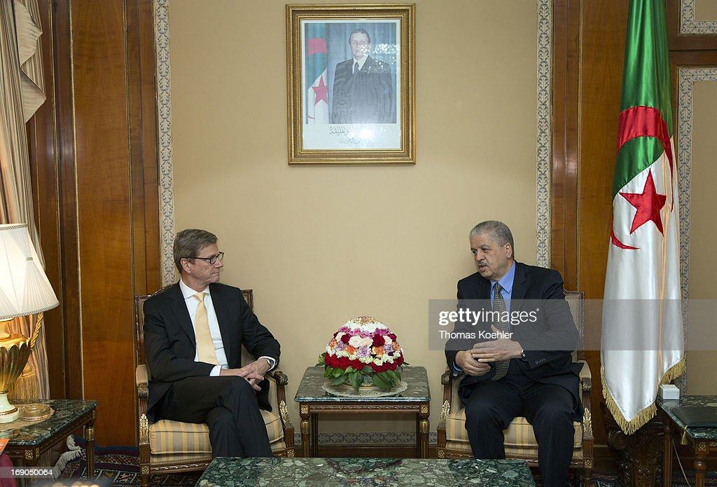German Foreign Minister Guido Westerwelle (L) meets with Abdelmalek Sellal, Prime Minister of Algeria, on May 19, 2013 in Algiers, Algeria. The issues topping the agenda are renewed efforts for the Middle East peace process, the crisis in Syria and the Iranian nuclear program.