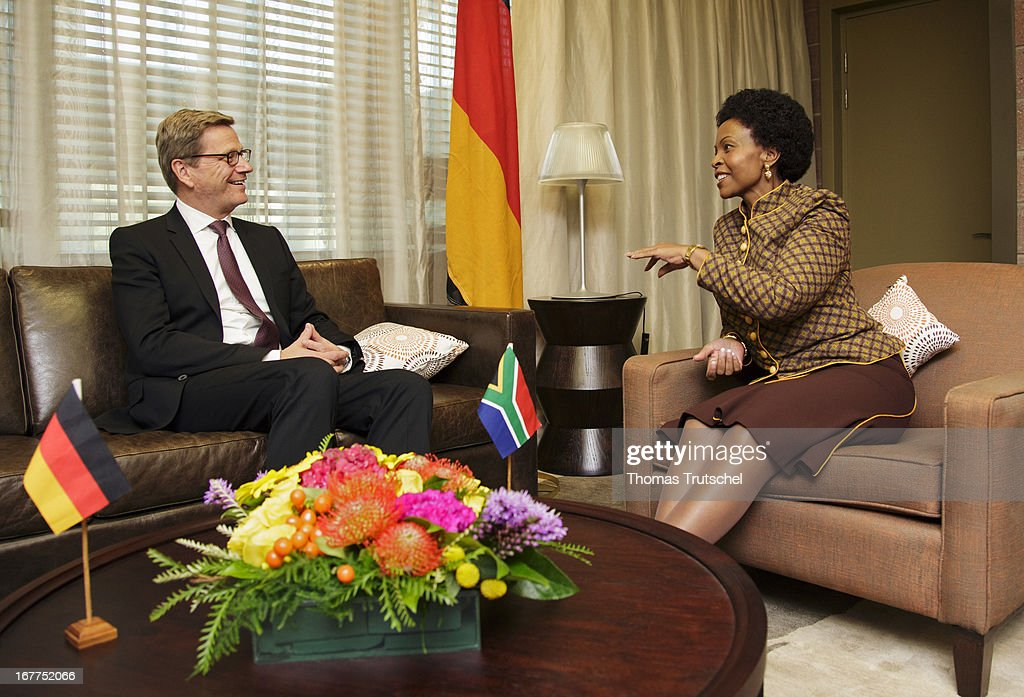 German Foreign Minister <a gi-track='captionPersonalityLinkClicked' href=/galleries/search?phrase=Guido+Westerwelle&family=editorial&specificpeople=208748 ng-click='$event.stopPropagation()'>Guido Westerwelle</a> (L) meets with Foreign Minister of South Africa, <a gi-track='captionPersonalityLinkClicked' href=/galleries/search?phrase=Maite+Nkoana-Mashabane&family=editorial&specificpeople=3056332 ng-click='$event.stopPropagation()'>Maite Nkoana-Mashabane</a> on April 29, 2013 in Pretoria, South Africa. Westerwelle is on a four day trip to Africa with Stops in Ghana, South Africa and Mozambique.