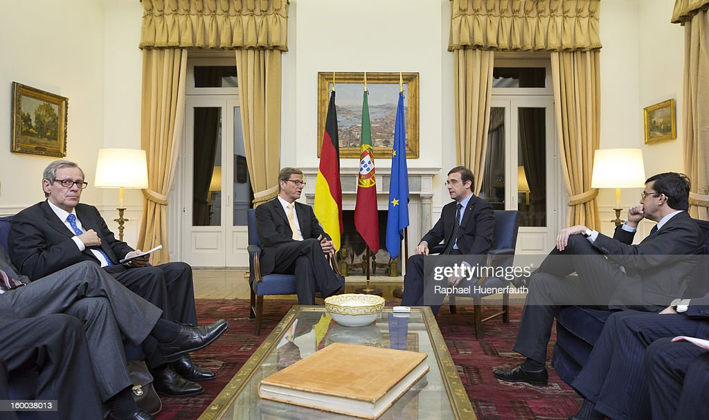 German Foreign Minister Guido Westerwelle (L) meets with the Spanish Prime minister Pedro Passos Coelho (R), at the the Palacio de Sao Bento, on January 24, 2013 in Lisbon, Portugal. Westerwelle has scheduled meetings with Portugese Foreign Minister Portas and Prime Minister Coelho. Westerwelle will attend the first German-Portuguese Forum.