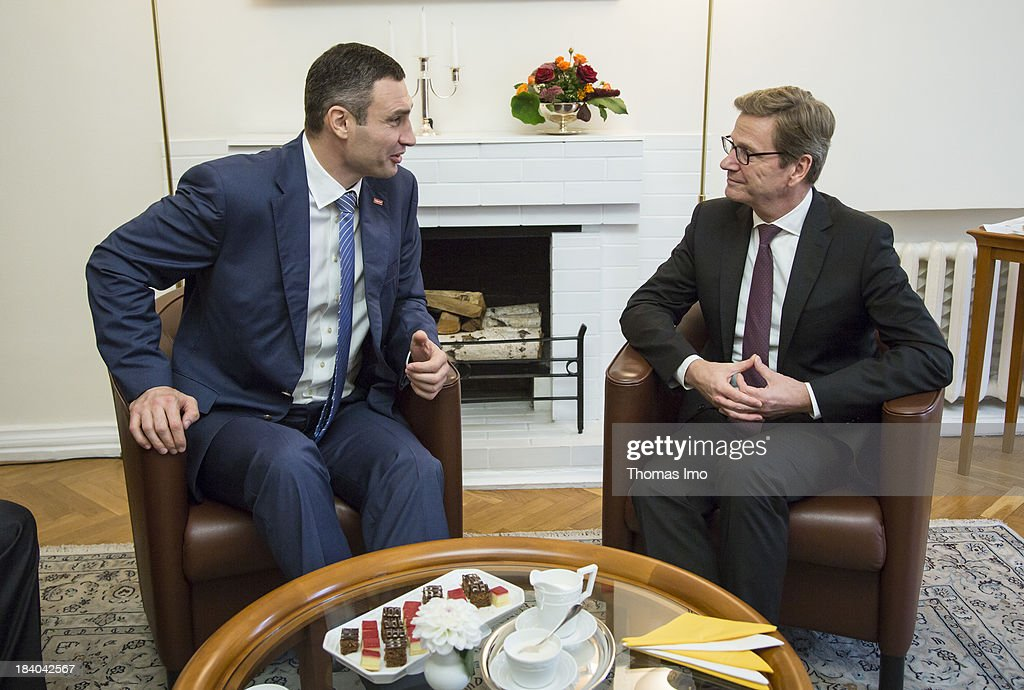 German Foreign Minister <a gi-track='captionPersonalityLinkClicked' href=/galleries/search?phrase=Guido+Westerwelle&family=editorial&specificpeople=208748 ng-click='$event.stopPropagation()'>Guido Westerwelle</a> meets with <a gi-track='captionPersonalityLinkClicked' href=/galleries/search?phrase=Vitali+Klitschko&family=editorial&specificpeople=206402 ng-click='$event.stopPropagation()'>Vitali Klitschko</a>, leader of Ukraine's UDAR opposition party, on October 11, 2013 in Kiev, Ukraine. Westerwelle is on a two-day trip in kiev, for bilateral meetings and to attend the international conference 'The Way Ahead for the Eastern Partnership'.