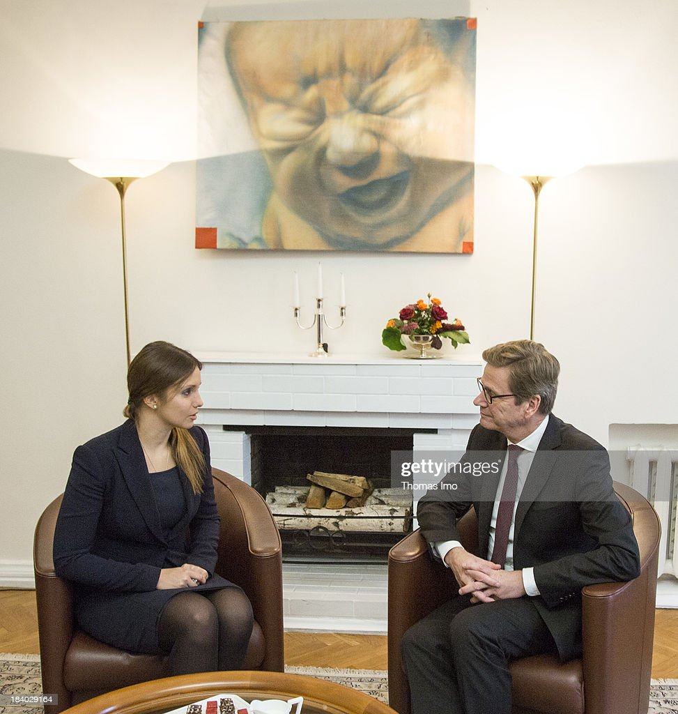 German Foreign Minister <a gi-track='captionPersonalityLinkClicked' href=/galleries/search?phrase=Guido+Westerwelle&family=editorial&specificpeople=208748 ng-click='$event.stopPropagation()'>Guido Westerwelle</a> meets with Yevgeniya Tymoshenko, the daughter of Ukraine's former prime minister Yulia Tymoshenko on October 11, 2013 in Kiev, Ukraine. Westerwelle is on a two-day trip in kiev, for bilateral meetings and to attend the international conference 'The Way Ahead for the Eastern Partnership'.