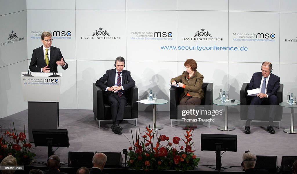 German Foreign Minister Guido Westerwelle, NATO General Secretary Anders Fogh Rasmussen, EU's Foreign Policy Chief Catherine Ashton, and Russian Foreign Minister Sergej Lawrow participates in a panel discussion during day 2 of the 49th Munich Security Conference at Hotel Bayerischer Hof on February 2, 2013 in Munich, Germany. The Munich Security Conference brings together senior figures from around the world to engage in an intensive debate on current and future security challenges and remains the most important independent forum for the exchange of views by international security policy decision-makers.
