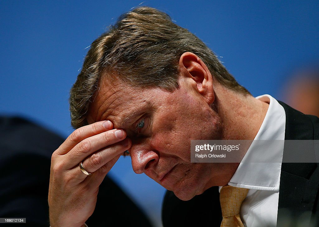 German Foreign Minister <a gi-track='captionPersonalityLinkClicked' href=/galleries/search?phrase=Guido+Westerwelle&family=editorial&specificpeople=208748 ng-click='$event.stopPropagation()'>Guido Westerwelle</a> of the German Free Democrats (FDP) political party, attends the FDP federal congress (Bundesparteitag) on May 4, 2013 in Nuremburg, Germany. The FDP is the junior partner in the current German government coalition, though its popularity has faltered in recent years and the party is in danger of not receiving the required minimum of 5% of votes to retain seats in the Bundestag in federal elections scheduled for September.