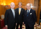 German Foreign Minister Guido Westerwelle poses with his counterparts from Great Britain William Hague and from France Laurent Fabius before the...