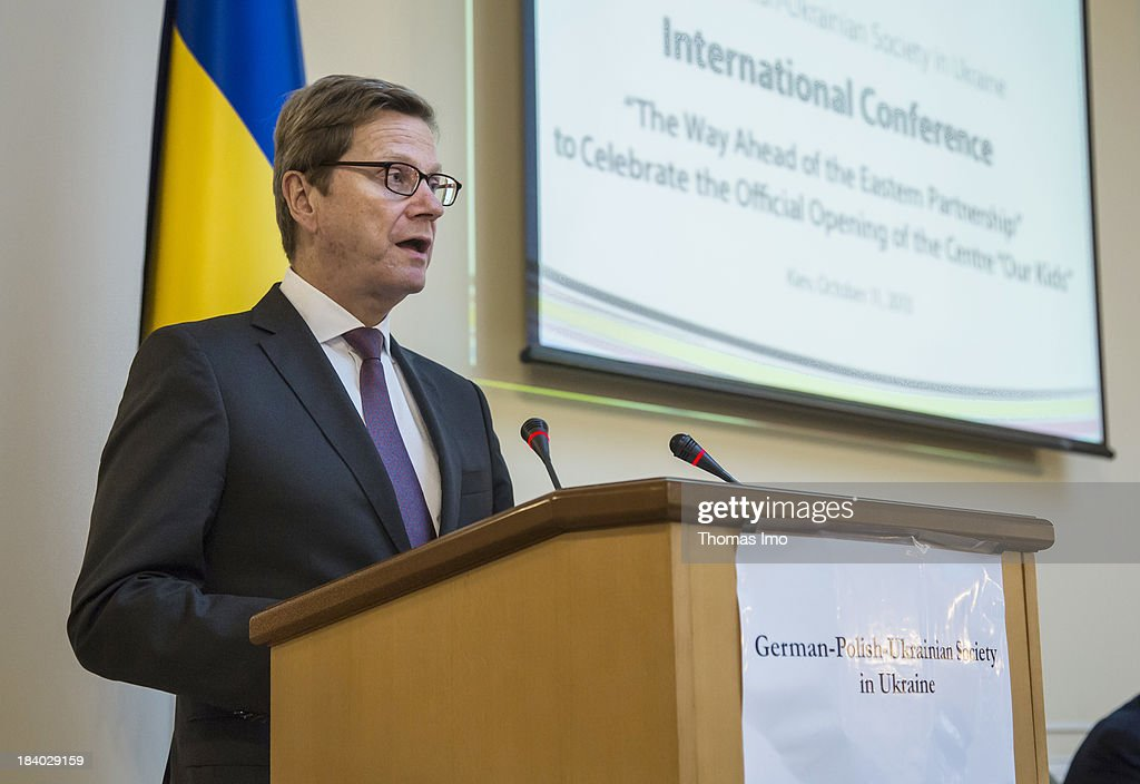 German Foreign Minister Guido Westerwelle speaks at the international conference 'The Way Ahead for the Eastern Partnership' on October 11, 2013 in Kiev, Ukraine. Westerwelle is on a two-day trip in kiev, for bilateral meetings and to attend the international conference 'The Way Ahead for the Eastern Partnership'.