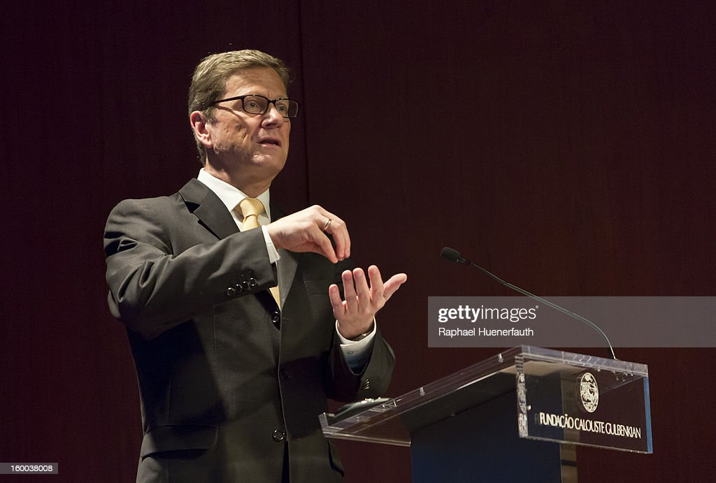 German Foreign Minister <a gi-track='captionPersonalityLinkClicked' href=/galleries/search?phrase=Guido+Westerwelle&family=editorial&specificpeople=208748 ng-click='$event.stopPropagation()'>Guido Westerwelle</a> speaks at the Calouste-Gubenkain-Stiftung where the German-Portuguese Forum is taking place, on January 24, 2013 in Lisbon, Portugal. Westerwelle has scheduled meetings with Portugese Foreign Minister Portas and Prime Minister Coelho. Westerwelle will attend the first German-Portuguese Forum.