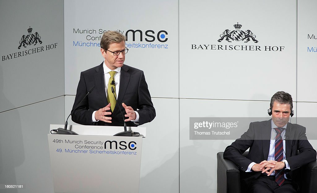 German Foreign Minister <a gi-track='captionPersonalityLinkClicked' href=/galleries/search?phrase=Guido+Westerwelle&family=editorial&specificpeople=208748 ng-click='$event.stopPropagation()'>Guido Westerwelle</a> (L) speaks beside NATO General Secretary <a gi-track='captionPersonalityLinkClicked' href=/galleries/search?phrase=Anders+Fogh+Rasmussen&family=editorial&specificpeople=549374 ng-click='$event.stopPropagation()'>Anders Fogh Rasmussen</a> on day 2 of the 49th Munich Security Conference at Hotel Bayerischer Hof on February 2, 2013 in Munich, Germany. The Munich Security Conference brings together senior figures from around the world to engage in an intensive debate on current and future security challenges and remains the most important independent forum for the exchange of views by international security policy decision-makers.