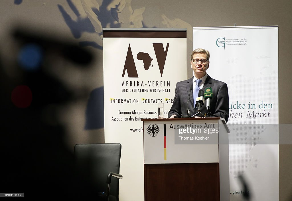German Foreign Minister <a gi-track='captionPersonalityLinkClicked' href=/galleries/search?phrase=Guido+Westerwelle&family=editorial&specificpeople=208748 ng-click='$event.stopPropagation()'>Guido Westerwelle</a> speaks on a German, Sudanese and South Sudanese trilateral business conference at the Federal Foreign Office on January 29, 2013 in Berlin, Germany. Their talks will focus on the peace process between Sudan and South Sudan.