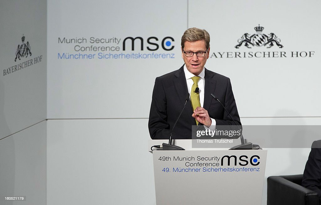 German Foreign Minister <a gi-track='captionPersonalityLinkClicked' href=/galleries/search?phrase=Guido+Westerwelle&family=editorial&specificpeople=208748 ng-click='$event.stopPropagation()'>Guido Westerwelle</a> speaks on day 2 of the 49th Munich Security Conference at Hotel Bayerischer Hof on February 2, 2013 in Munich, Germany. The Munich Security Conference brings together senior figures from around the world to engage in an intensive debate on current and future security challenges and remains the most important independent forum for the exchange of views by international security policy decision-makers.