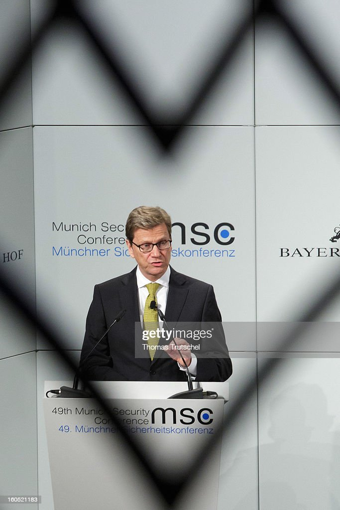 German Foreign Minister Guido Westerwelle speaks on day 2 of the 49th Munich Security Conference at Hotel Bayerischer Hof on February 2, 2013 in Munich, Germany. The Munich Security Conference brings together senior figures from around the world to engage in an intensive debate on current and future security challenges and remains the most important independent forum for the exchange of views by international security policy decision-makers.