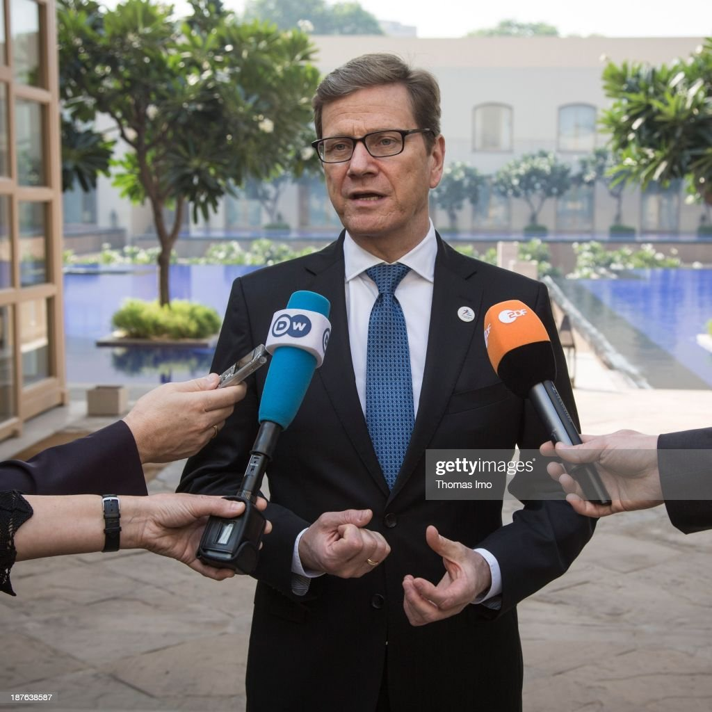 German Foreign Minister <a gi-track='captionPersonalityLinkClicked' href=/galleries/search?phrase=Guido+Westerwelle&family=editorial&specificpeople=208748 ng-click='$event.stopPropagation()'>Guido Westerwelle</a> speaks to the press during a meeting of the ASEM foreign ministers' on November 11, 2013 in New Delhi, India. The ASEM offers a platform for an informal process of dialogue, bringing together European countries and the European Commission with Asian countries. The 11th ASEM Foreign Minister' meeting is using the proposed theme 'Bridge to Partnership for Growth and Development' as it's platform.