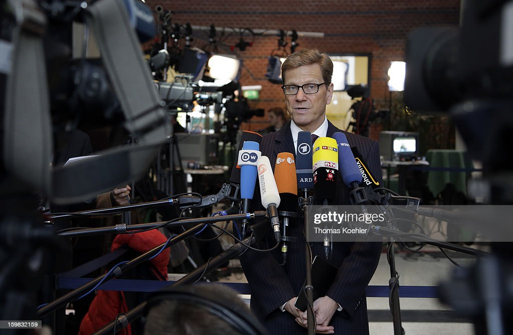 German Foreign Minister Guido Westerwelle speeks to the press a day after the SPD and German Greens party emerged with a hairline victory in Lower Saxony on January 21, 2013 in Berlin, Germany. The win has given the SPD a much needed boost following declining popularity figures for its chancellor candidate Peer Steinbrueck. Germany faces national elections later this year.