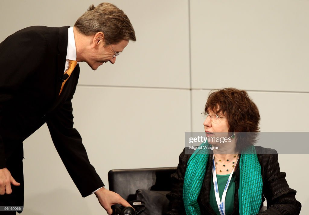 German Foreign Minister <a gi-track='captionPersonalityLinkClicked' href=/galleries/search?phrase=Guido+Westerwelle&family=editorial&specificpeople=208748 ng-click='$event.stopPropagation()'>Guido Westerwelle</a> (L) talks to EU foreign policy chief <a gi-track='captionPersonalityLinkClicked' href=/galleries/search?phrase=Catherine+Ashton&family=editorial&specificpeople=2314228 ng-click='$event.stopPropagation()'>Catherine Ashton</a> during the second day of the 46th Munich Security Conference at the Bayerischer Hof hotel in Munich on February 6, 2010 in Munich, Germany. The 46th Munich conference on security policy is running till February 7, 2010.