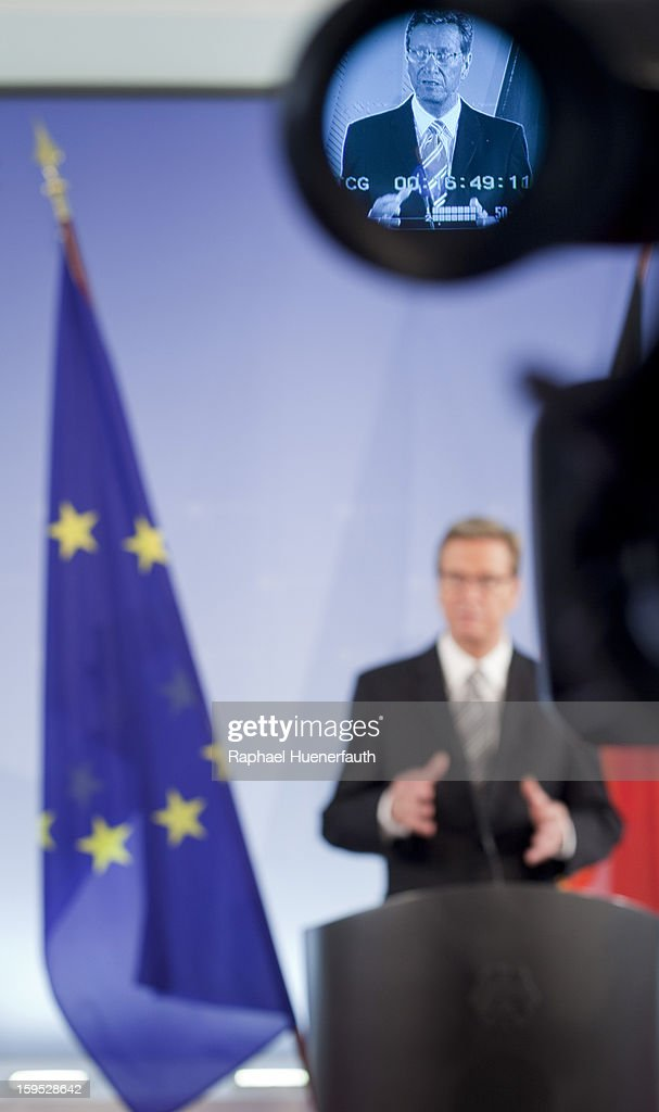 German Foreign Minister Guido Westerwelle trough the camera viewfinder, while he speaks at a press conference with Greek Finance Minister Yannis Stournaras (unseen) on September 04, 2012 in Berlin, Germany.