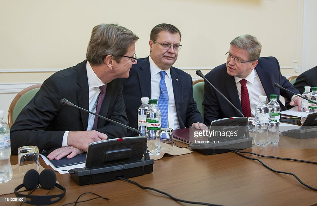 German Foreign Minister Guido Westerwelle, Vice Prime Minister of Ukraine Kostyantyn Gryshchenko and European Commissioner for Enlargement and European Neighbourhood Policy Stefan Fuele attends the international conference 'The Way Ahead for the Eastern Partnership' on October 11, 2013 in Kiev, Ukraine. Westerwelle is on a two-day trip in kiev, for bilateral meetings and to attend the international conference 'The Way Ahead for the Eastern Partnership'.