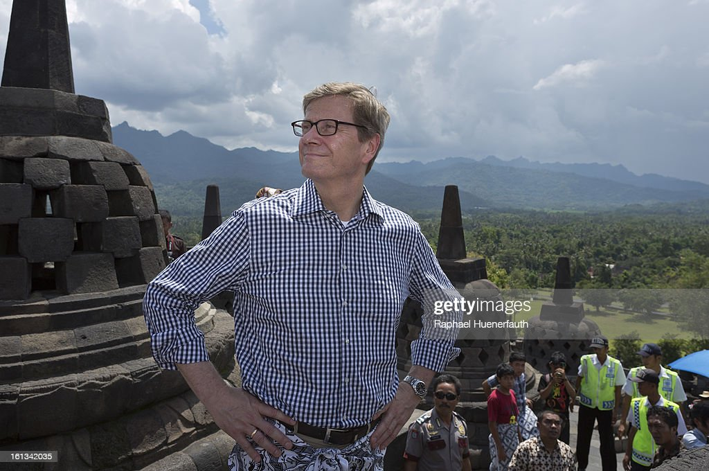 German Foreign Minister <a gi-track='captionPersonalityLinkClicked' href=/galleries/search?phrase=Guido+Westerwelle&family=editorial&specificpeople=208748 ng-click='$event.stopPropagation()'>Guido Westerwelle</a> visits the World Heritage listed Borobudur Temple Compounds, a 1200 year old buddhistic temple on February 10, 2013 in Borobudur, Indonesia. The eruption of Mt Merapi in 2010 posed a serious threat to the conservation of the temple and since 2011 Germany has provided financial contributions through UNESCO to support the conservation efforts.