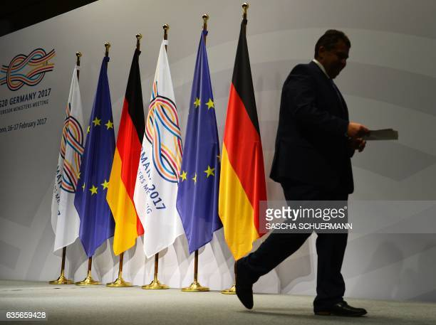 German Foreign Minister Sigmar Gabriel leaves after his speech during the G20 foreign ministers' meeting at the World Conference Center on February...