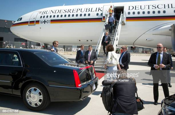 German Foreign Minister Sigmar Gabriel leaves the airplane on May 17 2017 in Washington DC United States