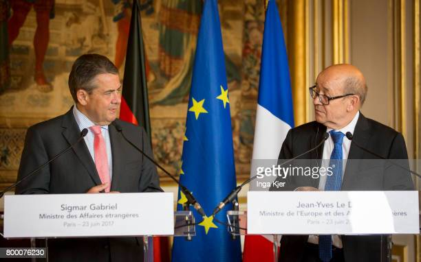 German Foreign Minister Sigmar Gabriel meets French Minister of Foreign Affairs Jean Yves Le Drian and gives a press statement on June 23 2017 in...