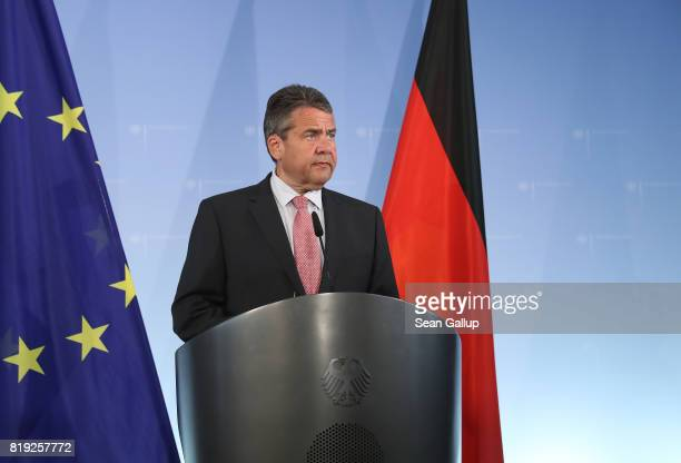 German Foreign Minister Sigmar Gabriel speaks to the media following the arrest in Turkey of yet another German citizen on charges of supporting...