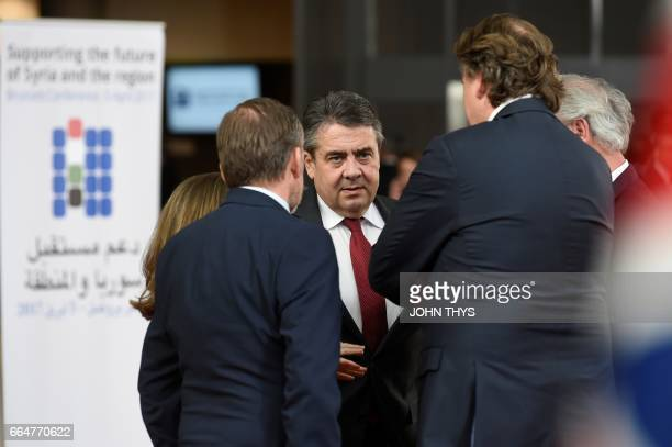 German Foreign Minister Sigmar Gabriel speaks with Canadian Chrystia Freeland Danish Foreign Affairs Anders Samuelsen Dutch Foreign minister Bert...