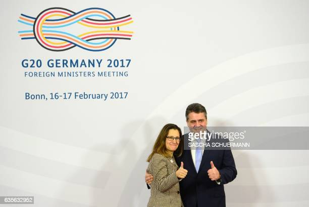German Foreign Minister Sigmar Gabriel welcomes Canadian Foreign Minister Chrystia Freeland at the G20 Foreign Ministers Meeting at the World...