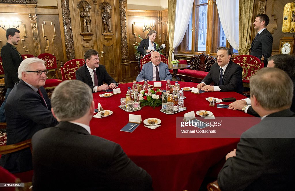 German Foreign Minister Steinmeier during a meeting at the parliament with ministers of foreign affairs from Slowakia Miroslaw Lajak, <a gi-track='captionPersonalityLinkClicked' href=/galleries/search?phrase=Janos+Martonyi&family=editorial&specificpeople=2589439 ng-click='$event.stopPropagation()'>Janos Martonyi</a> from hungary and <a gi-track='captionPersonalityLinkClicked' href=/galleries/search?phrase=Viktor+Orban&family=editorial&specificpeople=4685765 ng-click='$event.stopPropagation()'>Viktor Orban</a>, premier from hungary as he visits Hungary on March 13, 2013 in Budapest, Hungary.