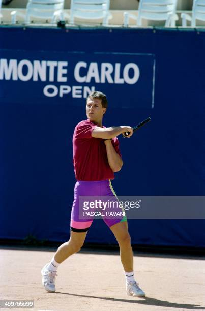 German Formula One driver Michael Schumacher plays Tennis at the Country Club of Monte Carlo on May 21 in Monaco