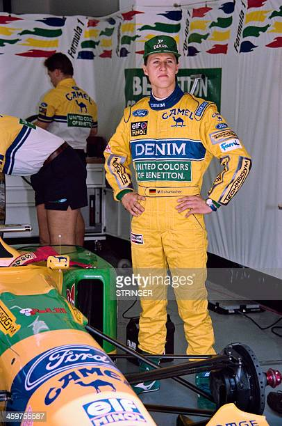 German Formula One driver Michael Schumacher poses during the formula one San Marino Grand Prix race at the Imola race track on April 24 in Italy