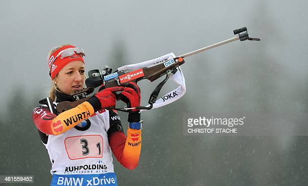 German Franziska Preuss prepares her shooting during the women's 4 x 6 km relay at the Biathlon World Cup on January 14 in Ruhpolding southern...