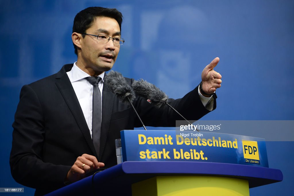 German Free Democrats (FDP) party chairman <a gi-track='captionPersonalityLinkClicked' href=/galleries/search?phrase=Philipp+Roesler&family=editorial&specificpeople=4838791 ng-click='$event.stopPropagation()'>Philipp Roesler</a> speaks during an election campaign on September 19, 2013 in Hanover, Germany. Germany faces federal elections on September 22.