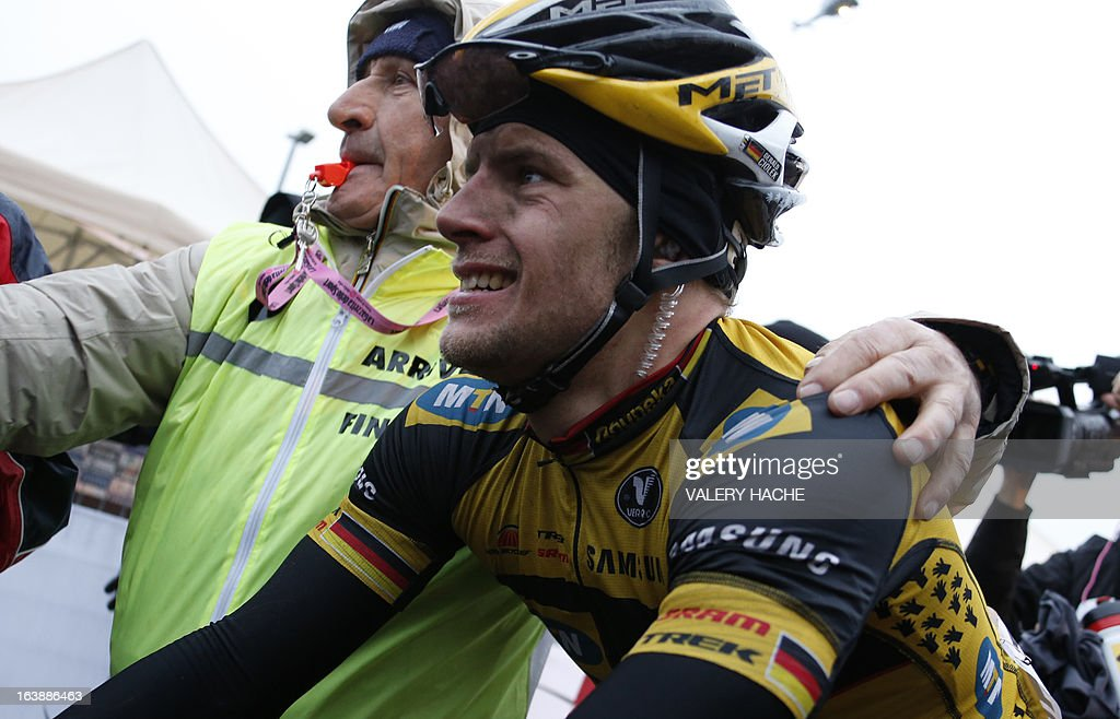 German Gerald Ciolek is pictured after he won the 104th Milan San Remo spring classic cycling race on March 17, 2013 in San Remo. Gerald Ciolek of Germany, riding for South African team MTN-Qhueka, won the first cycling classic of the season, the Milan-Sanremo, triumphing in a race curtailed by heavy snow.