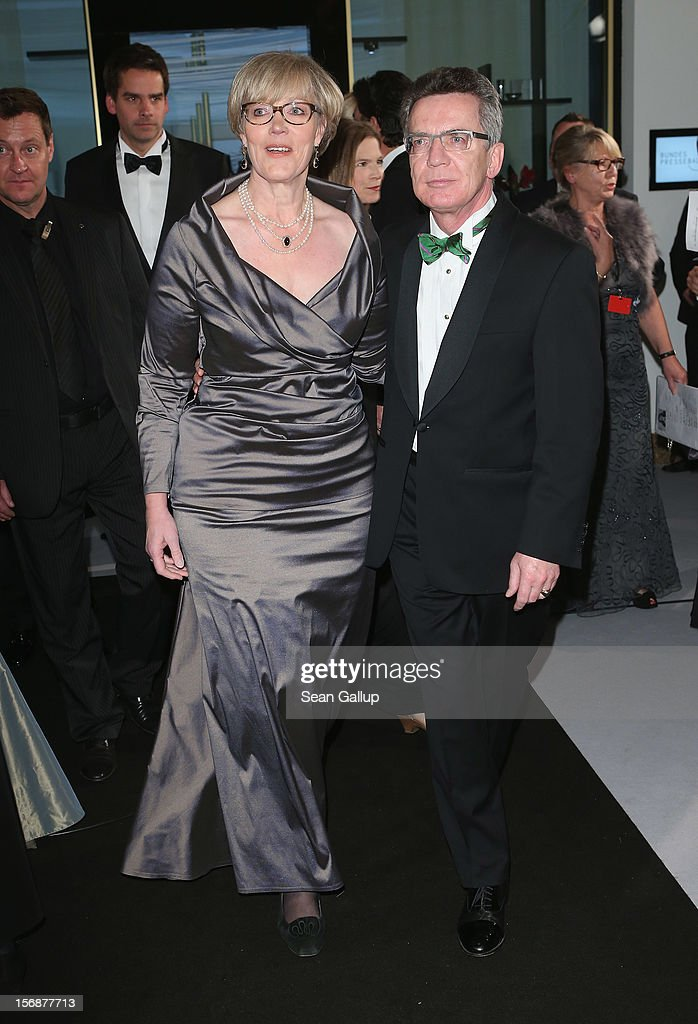German German Defense Minister Thomas de Maiziere and his wife Martina attend the 2012 Bundespresseball (Federal Press Ball) at the Intercontinental Hotel on November 23, 2012 in Berlin, Germany.