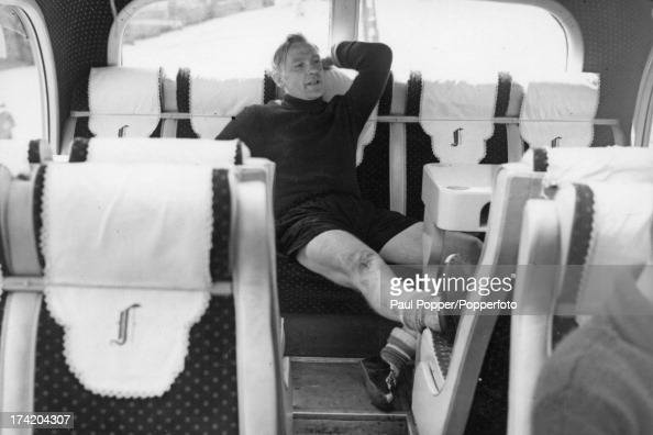 German goalkeeper Bert Trautmann of Manchester City FC resting in the team coach after complaining of rheumatic pains in the neck during training in...