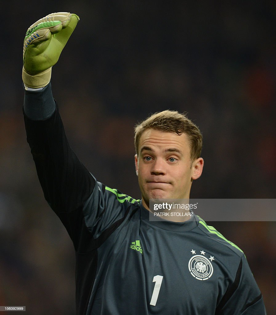 German goalkeeper Manuel Neuer is pictured during the friendly football match Netherlands vs Germany on November 14, 2012 in Amsterdam.
