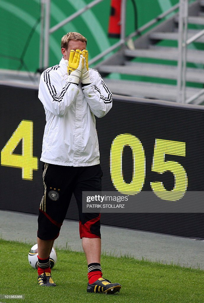 German goalkeeper Manuel Neuer takes part in a training session at the Commerzbank Arena in the central German city of Frankfurt am Main on June 2, 2010. Germany is facing Bosnia-Herzegovina on June 3, 2010 in their last warm-up ahead of the FIFA 2010 World Cup in South Africa.