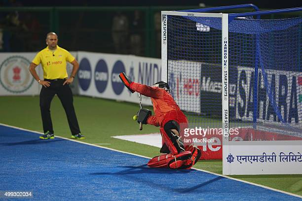 German goalkeeper Nicolas Jacobi saves a penalty during the match between Argentina and Germany on day four of The Hero Hockey League World Final at...