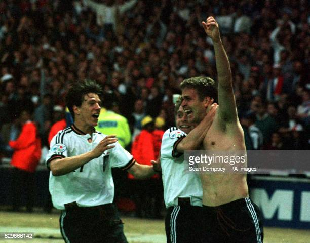 German goalscorer Oliver Bierhoff celebrates at the end of tonight's Euro 96 final against the Czech Republic at Wembley Photo by Sean Dempsey/PA