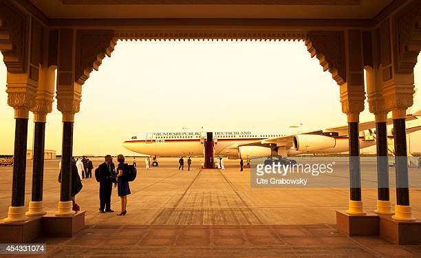 German government plane Airbus A340 Konrad Adenauer at the Abu Dhabi Airport on May 31 in Abu Dhabi United Arab Emirates German Foreign Minister...