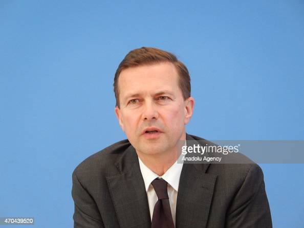 German government spokesman Steffen Seibert answers questions during a press conference at Federal Press Office in Berlin Germany on April 20 2015