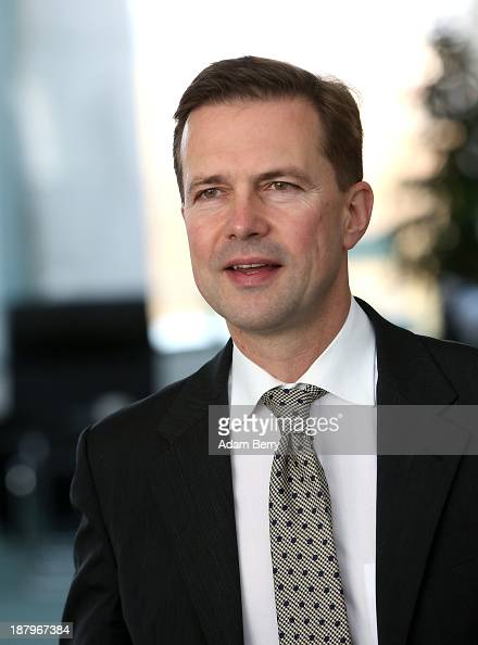 German government spokesman Steffen Seibert arrives prior to the arrival of Bill Gates cofounder of the Bill Melinda Gates Foundation and former head...